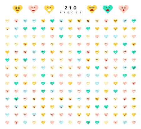 compassion: Great set of 210 color emotions isolated on white background. Character emoji for Web. Anger and compassion. Laughter, tears. Smile sadness surprise. Happiness fear. Illustration