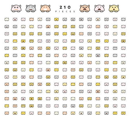 cunning: Big set 210 pieces emotions isolated. Cats cute funny. Web emoji. Anger and compassion. Laughter tears. Sadness and surprise. Happiness and fear. Cunning, cheerful.