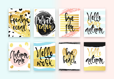 came: Set hand drawn cards design. Beautiful colorful design in gold with hand calligraphy. Goodbye ocean, Velvet season, Bye sun, Hello rainy autumn, Autumn came, Hello work, Bye beach, Hello autumn