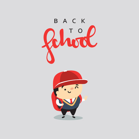goes: Boy with a backpack running to school. Child who goes to school with a backpack. The character goes to school. Illustration