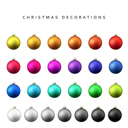 Christmas decoration balls range. Matt shade Christmas balls isolated on a white background realistic vector illustration