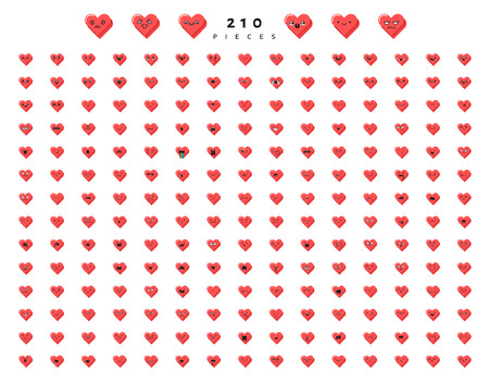 Big set 210 emotions red hearts isolated on white background. Emoji for Web. Smile characters cute
