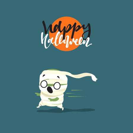 Holiday Happy Halloween. Funny doodle characters. Cute cartoon halloween character costumes, zombie, mummy. Surprised fright, smile and fear,