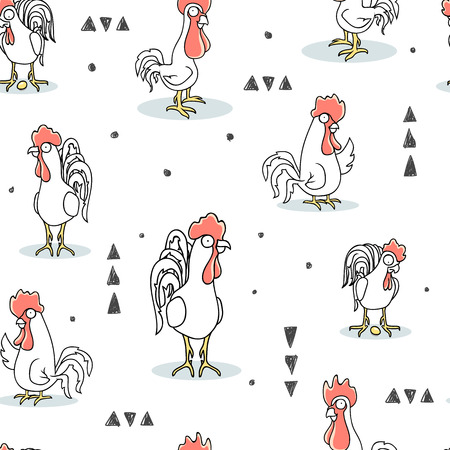 cock pattern seamless, animal illustration rooster background.