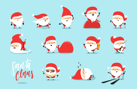 Santa Claus collection of Christmas. Funny cartoon character with different emotions. Santa Claus ready new year.