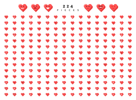 Big set 224 emotions red hearts isolated on white background. Emoji for Web. Smile characters cute