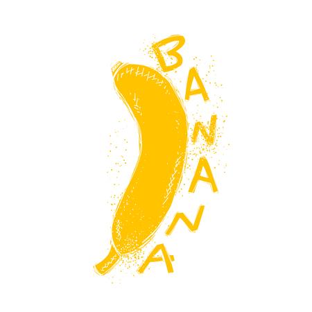 Banan amarelo com a palavra artesanal. fruta da banana Doodle isolada. elementos de design de moda. imprimir na moda moderno