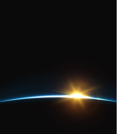 earth from space: Planet earth sunrise.. Globe Horizon atmosphere. view of the earth from orbit of the planet . Background of the earth from space vector illustration Illustration