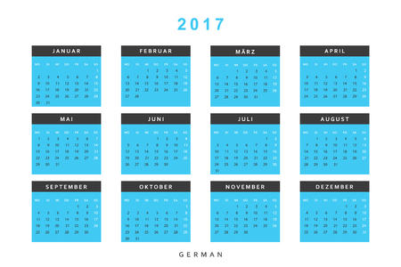 Calendar 2017 in German simple modern. Template with a calendar for 2017 for design. Week starts from Monday
