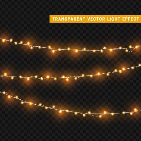 Luci di Natale isolati elementi di design realistici. luci incandescente per Natale biglietto di auguri per le vacanze di progettazione. Ghirlande, decorazioni natalizie. Archivio Fotografico - 63320534
