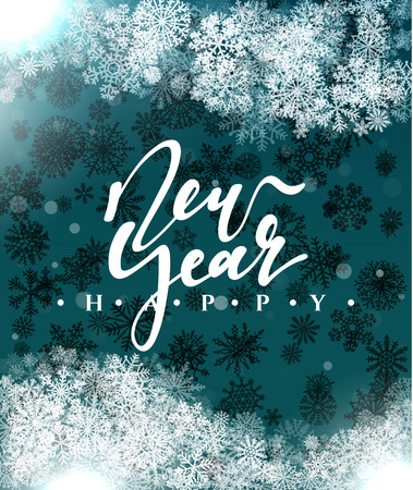 black star: Happy New Year and Merry Christmas concept greeting card design. Postcard background for print or banner to your website. Handmade calligraphy Merry Christmas. Holiday background vector image greeting Illustration