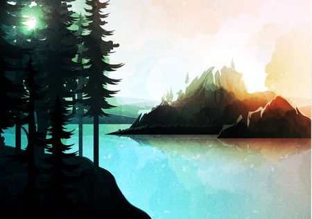 Nature landscape, mountain forest and lake, watercolor style. Vector natures hills, tree in rivers. Summer green background. Poster Travel. National Park. Sunrise scenic views of nature