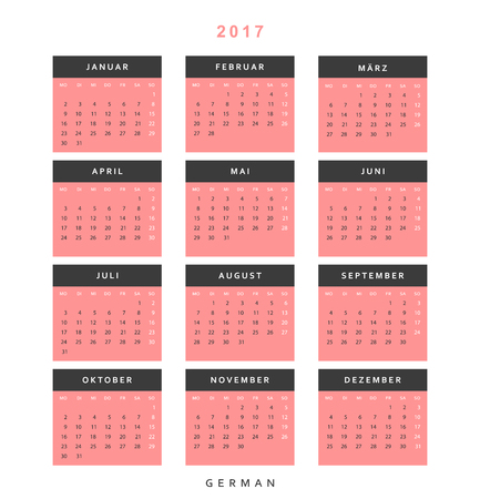 thursday: Calendar 2017 in German simple modern. Template with a calendar for 2017 for design. Week starts from Monday