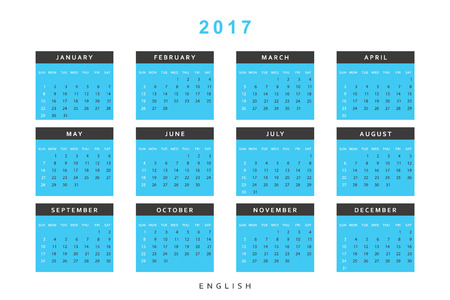 Calendar 2017 year simple style. Week starts from sunday. Template with a calendar for 2017 for design