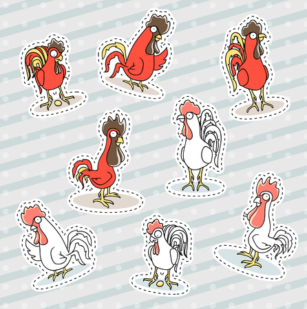 happy new year cartoon: Rooster, chicken sticker patch, the symbol of the new year. Funny animals in doodle style. Hens red. Set characters cock Illustration