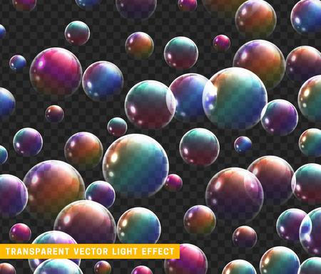 Bolle di sapone insieme realistico isolato con trasparente illustrazione vettoriale. Bolla di sapone arcobaleno di riflessione.
