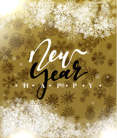 christmas concept: Happy New Year and Merry Christmas concept greeting card design. Postcard background for print or banner to your website. Handmade calligraphy Merry Christmas. Holiday background vector image greeting Illustration