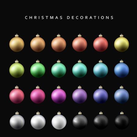 Christmas decoration balls range. Matt shade Christmas balls isolated on a black background realistic vector illustration Illustration