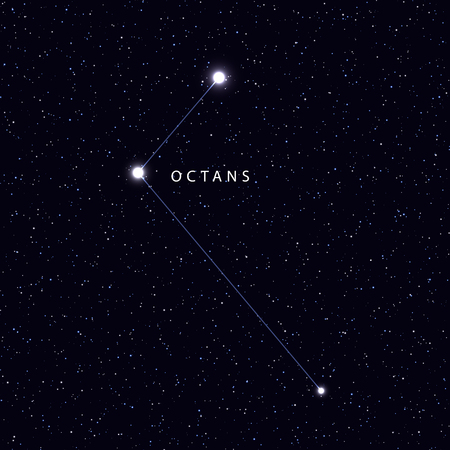 constellations: Sky Map with the name of the stars and constellations. Astronomical symbol constellation Octans