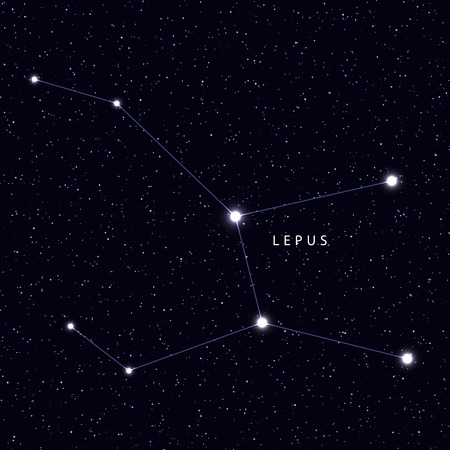 constellations: Sky Map with the name of the stars and constellations. Astronomical symbol constellation Lepus