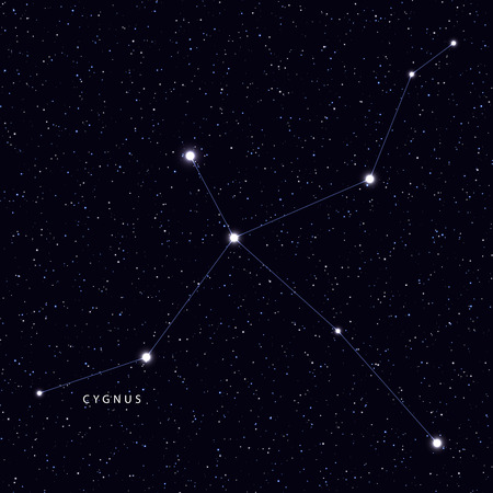 Sky Map with the name of the stars and constellations. Astronomical symbol constellation Cygnus Illustration