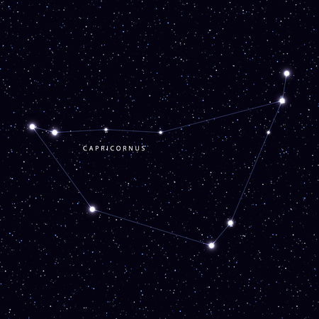 capricornus: Sky Map with the name of the stars and constellations. Astronomical symbol constellation Capricornus