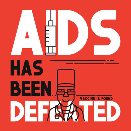 defeated: AIDS has been defeated. Medical concept flat banner. AIDS vaccine. Medical Breakthrough vaccine is found.