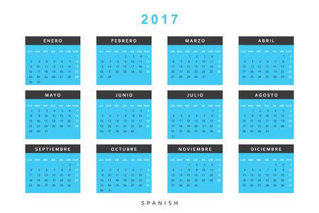 calendario octubre: Calendario 2017 en español sencillo y moderno. Plantilla con un calendario 2017 para el diseño. La semana comienza desde el lunes
