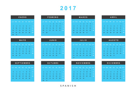 Calendar 2017 in Spanish simple modern. Template with a calendar for 2017 for design. Week starts from Monday
