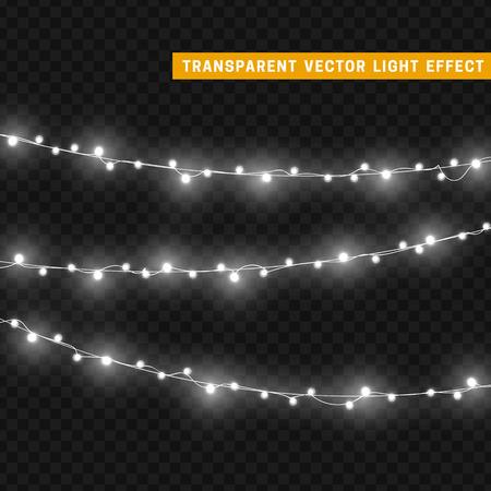 geïsoleerd Kerstverlichting realistische design elementen. Gloeiende lichten voor Xmas Holiday wenskaart ontwerp. Slingers, kerstversiering. Stock Illustratie
