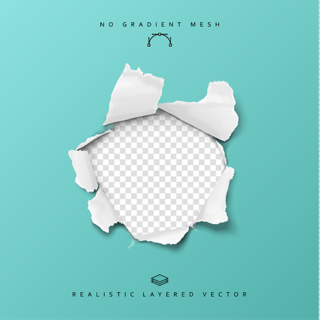 Torn paper realistic, hole in the sheet of paper on a transparent background. No gradient mesh. Vector illustrations. Иллюстрация