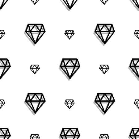 jewelry background: Background fashion diamond style pixel art seamless pattern. jewelry patch. Precious diamonds Illustration