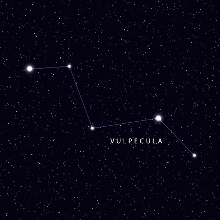 constellations: Sky Map with the name of the stars and constellations. Astronomical symbol constellation Vulpecula