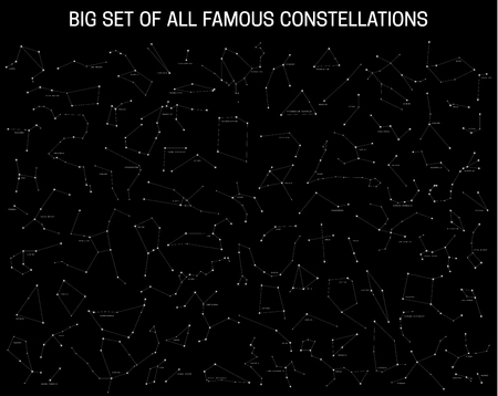 galaxies: Big set of all famous constellations, modern astronomical signs of the zodiac. Sky Map with the name of the stars and constellations. Illustration