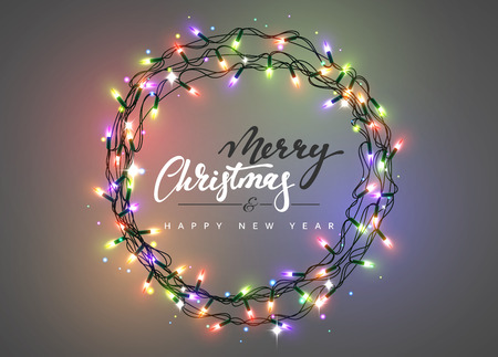 Merry Christmas and happy New Year Lettering label. Glowing Christmas  Lights Wreath for Xmas Holiday - Merry Christmas And Happy New Year Lettering Label. Glowing