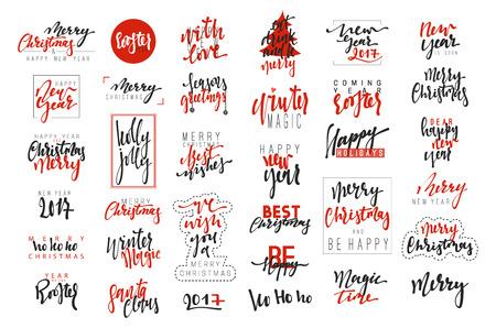 Feliz Navidad y Feliz Año Nuevo 2017 emblemas de la caligrafía de lujo situado. Nuevas inscripciones de fiesta rojo, vector, diseño del texto. Utilizable para banners, tarjetas de felicitación, regalos, etc. Ilustración de vector