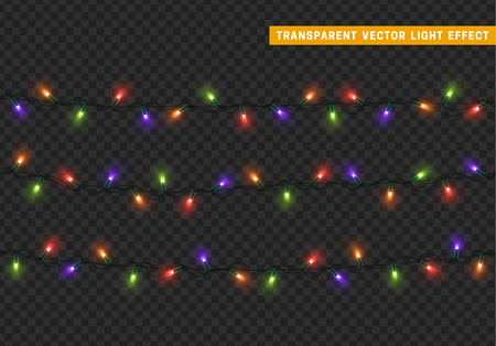 xmas decoration: Garlands, Christmas decorations lights effects. Isolated vector design elements. Glowing lights for Xmas Holiday greeting card design. Christmas decoration realistic luminous garland