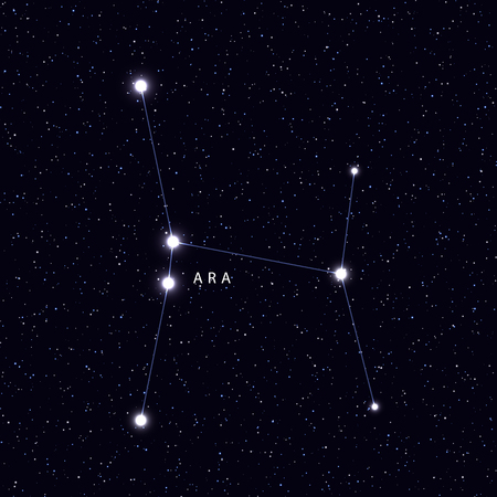 zodiacal symbol: Sky Map with the name of the stars and constellations. Astronomical symbol constellation Ara Illustration