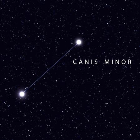 costellazioni: Sky Map con il nome delle stelle e costellazioni. Astronomico simbolo costellazione del Cane Minore Vettoriali