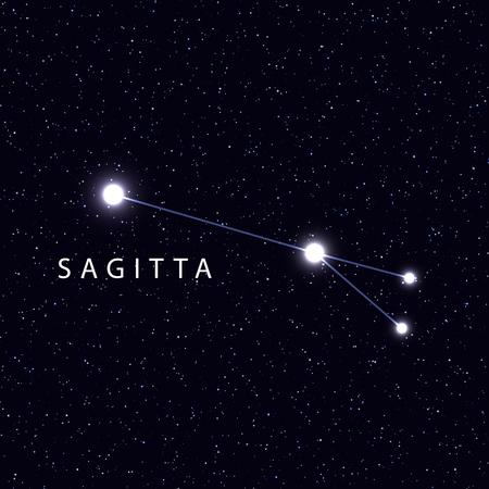 costellazioni: Sky Map con il nome delle stelle e costellazioni. simbolo astronomico costellazione Sagitta