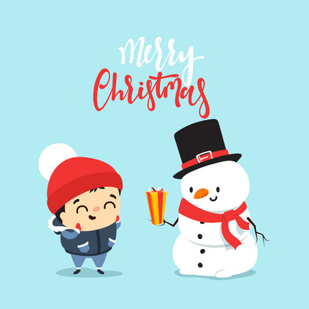 dar un regalo: Snowman give a gift to a child, a boy. Cheerful snowman presents a Christmas gift. Cute winter characters in flat style. Character Christmas greeting cards and web