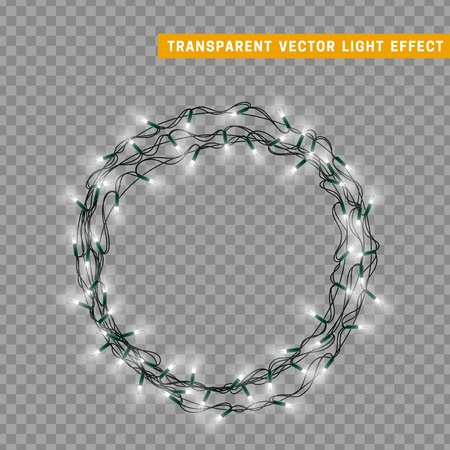 Garlands, Christmas decorations lights effects. Isolated design elements. Glowing lights for Xmas Holiday greeting card design. Christmas decoration realistic luminous garland Vectores