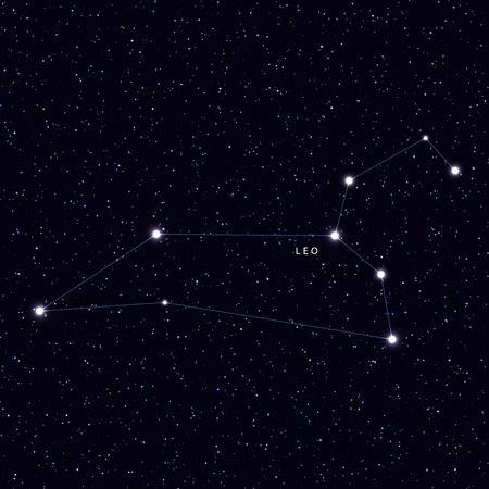 galaxies: Sky Map with the name of the stars and constellations. Astronomical symbol constellation Leo Illustration