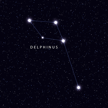 Sky Map With The Name Of The Stars And Constellations Astronomical Symbol Constellation Delphinus Stock