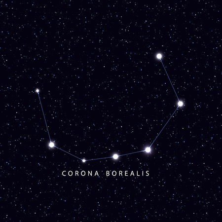 borealis: Sky Map with the name of the stars and constellations. Astronomical symbol constellation Borealis