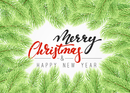 conifer: Background Christmas tree branches border. Merry Christmas card with a manual. calligraphy