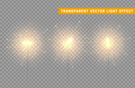 Festive Christmas sparkler decoration lighting element. Sparkler vector firework. Magic light isolated effect. For the background of the holiday and birthday Vectores