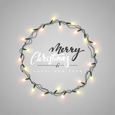 Glowing christmas lights wreath for xmas holiday greeting cards glowing christmas lights wreath for xmas holiday greeting cards design merry christmas lettering label m4hsunfo