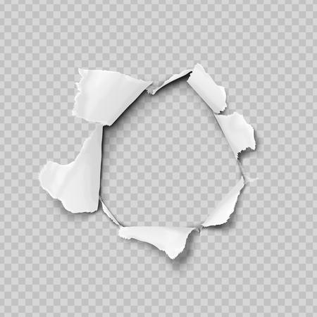 Carta strappata realistico, foro nel foglio di carta su uno sfondo trasparente. Nessuna sfumatura delle maglie. illustrazioni vettoriali.