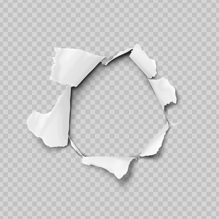 Torn paper realistic, hole in the sheet of paper on a transparent background. No gradient mesh. Vector illustrations. Vectores